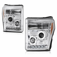 2011-2016 Ford F250 F350 Superduty LED Halo Projector Headlights - Chrome