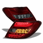 2011-2014 Mercedes Benz W204 C-Class Euro Style LED Tail Lights - Red Smoked