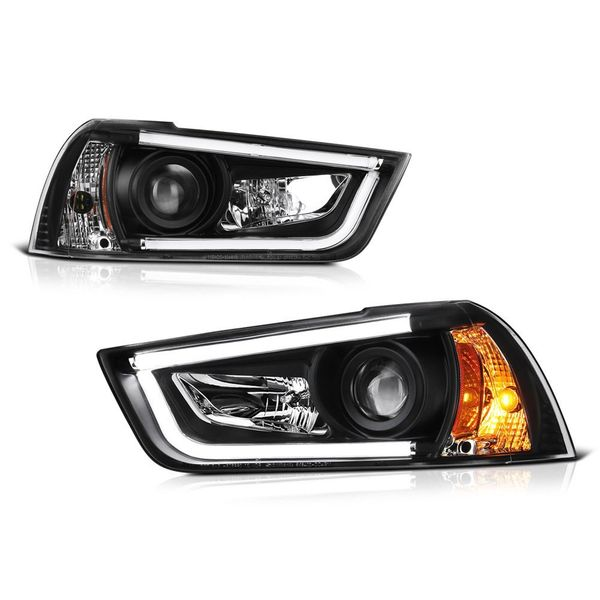 2011-2013 Dodge Charger (Factory Halogen Model) LED DRL Tube Projector Headlights - Black