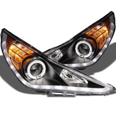 2011-14 Hyundai Sonata DRL LED Halo Projector Healdights - Black