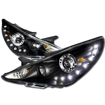 2011-2014 Hyundai Sonata SMD LED DRL Projector Headlights - Black