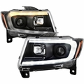 2011-2013 Jeep Grand Cherokee HID Type LED Tube Switchback Projector Headlights - Black