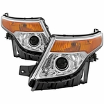 2011-2015 Ford Explorer Halogen Projector Headlights - Chrome