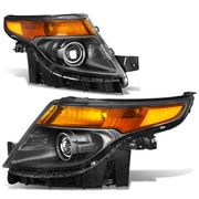 2011-2015 Ford Explorer Replace Projector Headlights - Black Amber