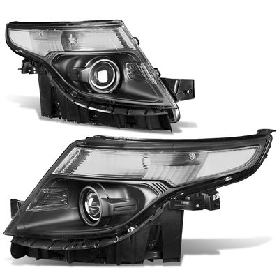 2011-2015 Ford Explorer Projector Headlights - Black Clear