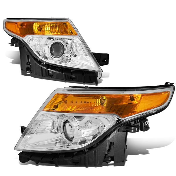 2011-2015 Ford Explorer Projector Headlights - Chrome Amber
