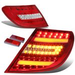 2012-14  Mercedes-Benz Facelifted W204 C-Class AMG Red / Clear Lens 3D LED Rear Tail Brake + Corner Signal Light