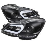 2012-2014 Mercedes Benz W204 C-Class LED DRL Tube Projector Headlights - Black