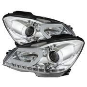 2012-2014 Mercedes Benz W204 C-Class LED DRL Tube Projector Headlights - Chrome