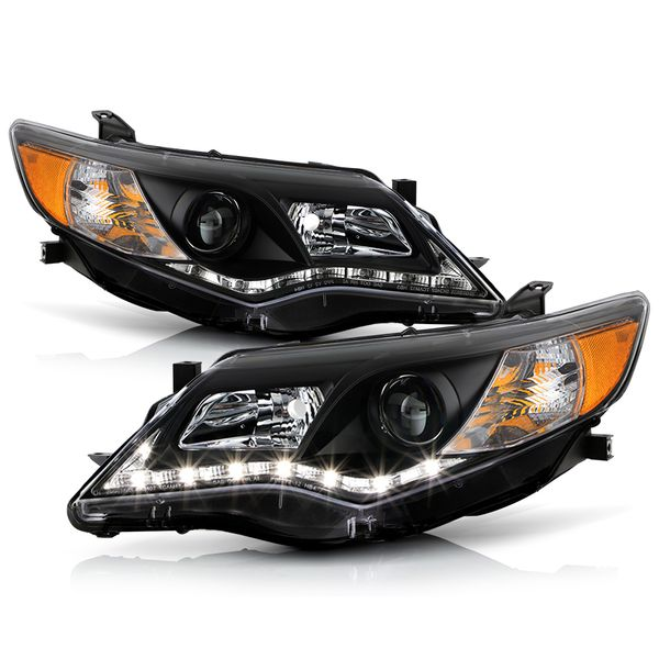 2012-2014 Toyota Camry LED DRL Strip Projector Headlights - Black