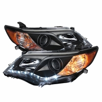2012-2013 Toyota Camry LED DRL Strip Projector Headlights - Black