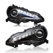 2012-2014 Scion FR-S FRS JDM Style LED DRL Strip Projector Headlights - Black