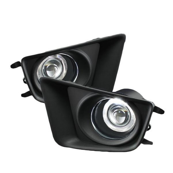 2012-2014 Toyota Tacoma Pickup Angel Eye Halo Projector Fog Lights - Clear