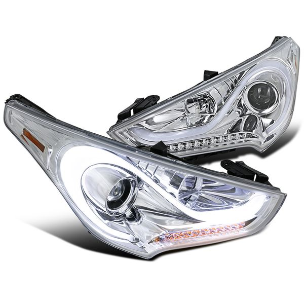 2012-2017 Hyundai Veloster LED DRL / Signal Projector Headlights - Chrome