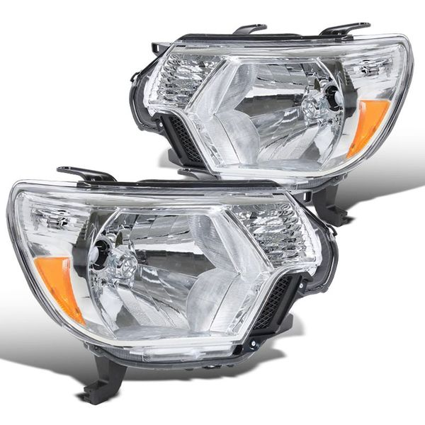 2012-2015 Toyota Tacoma Pickup Replacement Crystal Headlights - Chrome