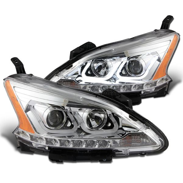 2013-2014 Nissan Sentra U-Shaped LED Bar Projector Headlights - Chrome