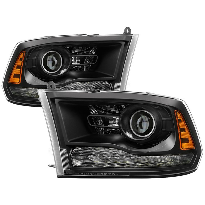 2013-2018 Dodge RAM 1500-3500 LED Projector Headlights - Black on