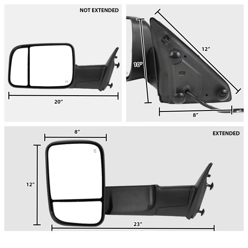 Heated Left Driver Mirror Glass w//Rear Holder for 09-17 Ram 1500 10-17 2500 3500
