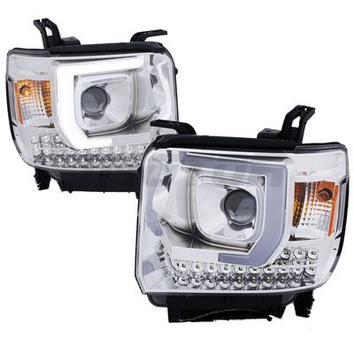 14-15 GMC Sierra 1500 / 15-16 2500 3500 [Model Without Factory LED DRL] LED DRL Tube Projector Headlights - Chrome