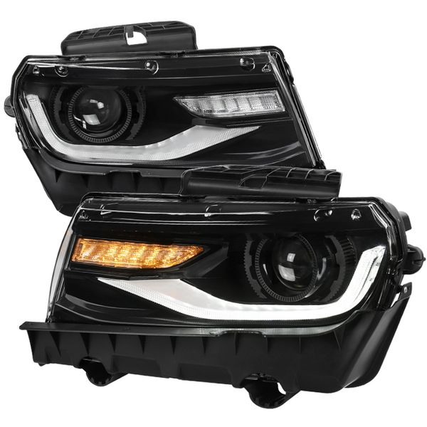2014-2015 Chevy Camaro LED DRL / Sequential Signal Projector Headlights - Black