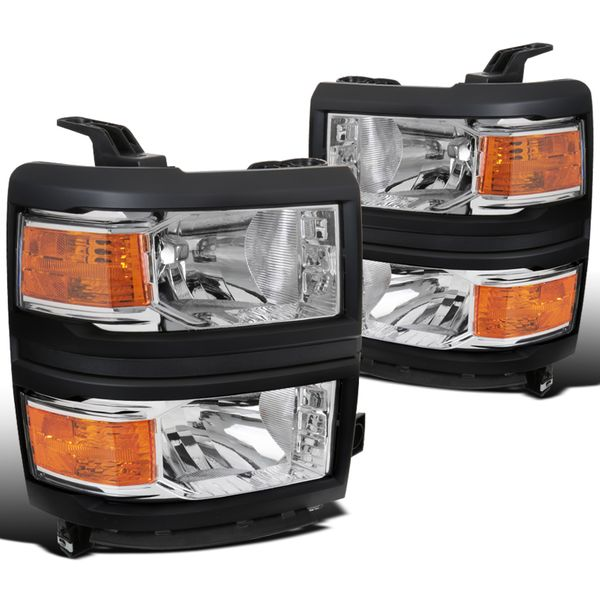 2014-2015 Chevy Silverado 1500 Pickup Replacement Headlights - Chrome