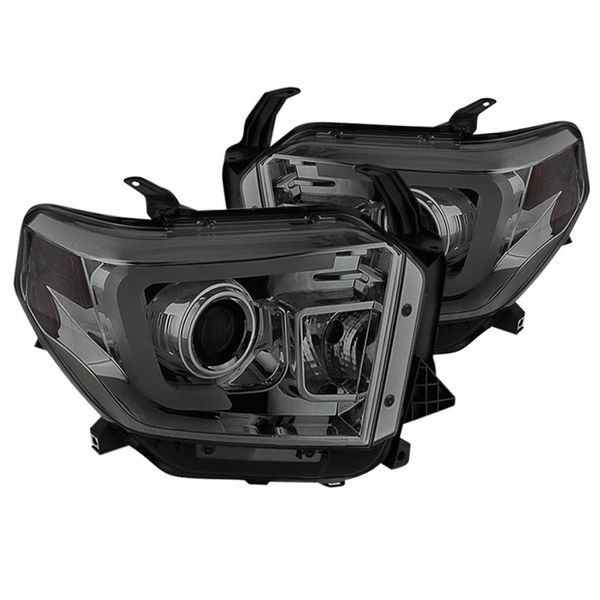 2014-19 Toyota Tundra LED Tube Projector Headlights - Smoked