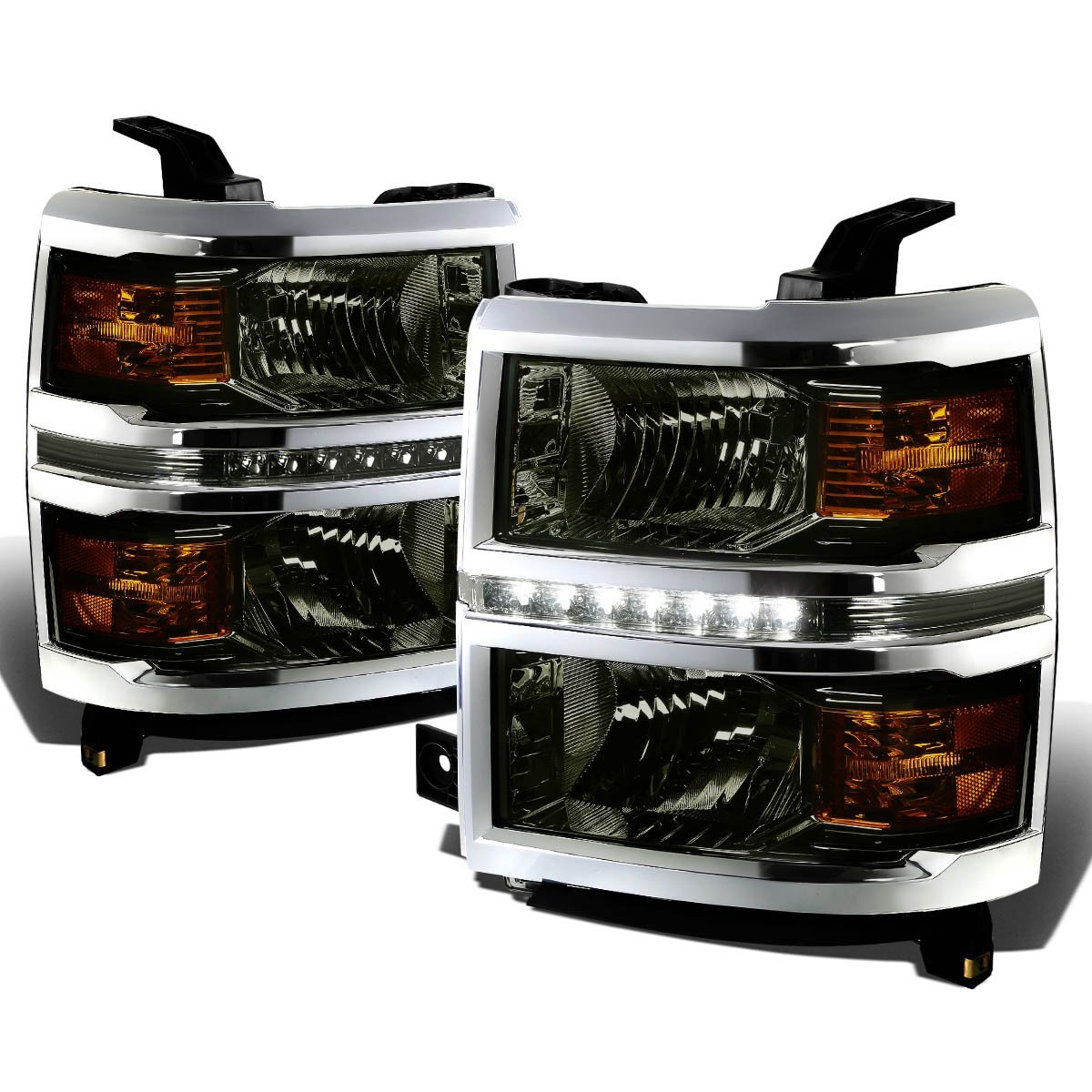 2014-15 Chevy Silverado 1500 LED Strip Replacement Headlights - Smoked