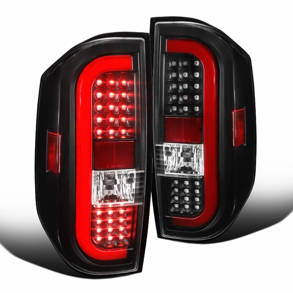 2014-2018 Toyota Tundra Black Sequential Red LED Tube Tail Brake Lights Pair