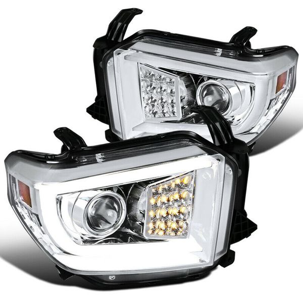 2014-2018 Toyota Tundra LED DRL Bar Tube Projector Headlights Pair- Chrome