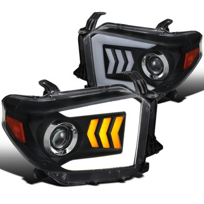 2014-2018 Toyota Tundra LED Sequential Signal Projector Headlights Black