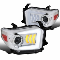 2014-2019 Toyota Tundra LED Sequential Signal Projector Headlights Chrome