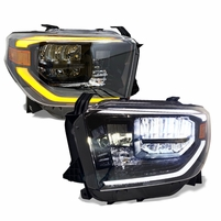 2014-2020 Toyota Tundra TRD PRO Look Full LED Sequential / Activation Crystal Headlights - Black
