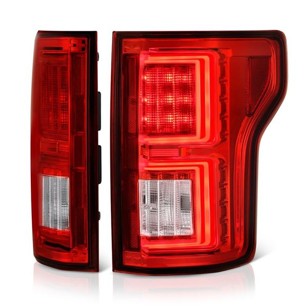 2015-17 Ford F150 F-150 LED Tube Performance Tail Lights - Red Clear