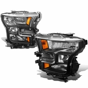 2015-17 Ford F150 Pickup Crystal Replace Headlights - Black