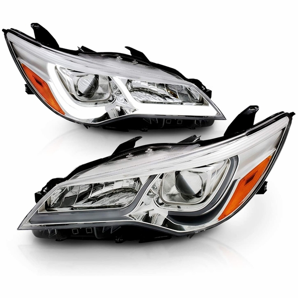 2015-17 Toyota Camry [Halogen Model] LED DRL Tube Projector Headlights - Chrome
