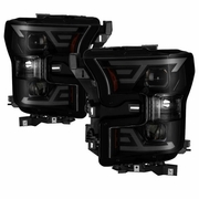 2015 2016 2017 Ford F150 LED Light Tube DRL Projector Headlights Black Smoked
