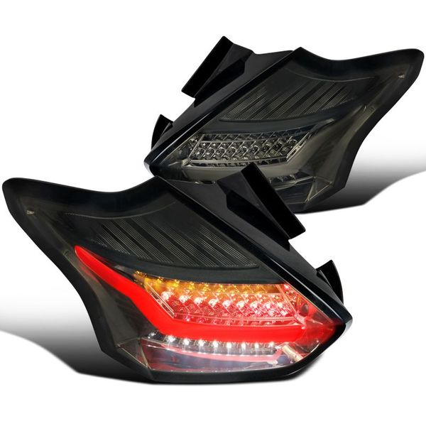 2015-2018 Ford Focus Hatchback Optic LED Tube Tail Lights - Smoked