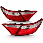 2015-2016 Toyota Camry Optic-Style LED Tail Lights - Red / Clear 03-TM15TLED4D