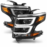 2015-2017 Chevy Tahoe Suburban Halogen Type Dual Chrystal LED DRL Projector Headlights - Black