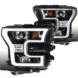 2015-2017 Ford F-150 LED DRL Projector Headlights - Gloss Black / Clear