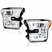 Spyder 15-17 Ford F150 LED DRL Tube Projector Headlights - Chrome