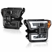 Spyder 15-17 Ford F150 LED DRL Tube Projector Headlights - Smoked