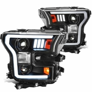 2015-2017 Ford F150 Optic-Style LED DRL Projector Headlights - Black