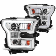2015-2017 Ford F150 Optic-Style LED DRL Projector Headlights - Chrome