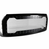 2015-2017 Ford F150 Pickup Rivet Style Stainless Mesh Glossy Black ABS Front Grille