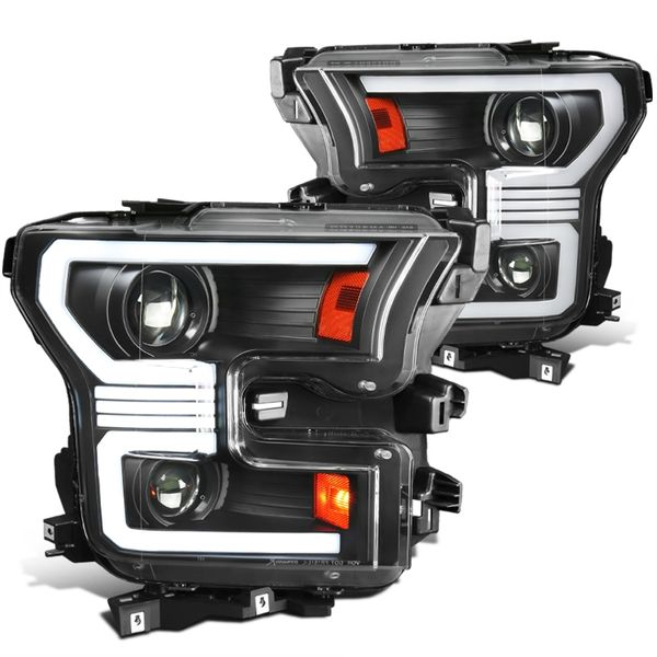 2015-2017 Ford F150 Sequential Switchback LED DRL / Signal Projector Headlights - Black