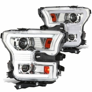 2015-2017 Ford F150 Sequential Switchback LED DRL / Signal Projector Headlights - Chrome