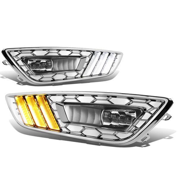 2015-2017 Ford Focus LED DRL Fog Lights + Build-in Turn Signal (Chrome Bezel Clear Lens)