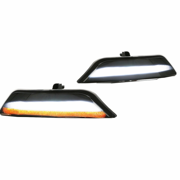 2015-2017 Ford Mustang Sequential LED Signal DRL Bumper Lights - Smoked Lens