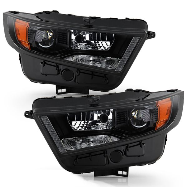 2015-2018 Ford Edge [HID Model] Factory-Style Black Projector Headlights - Pair